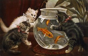 KITTENS & GOLDFISH BOWL