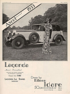 Lagonda advertisement, 1933 and Idare dress
