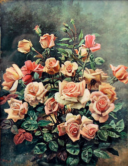 Still life of pink roses by Fortunino Matania