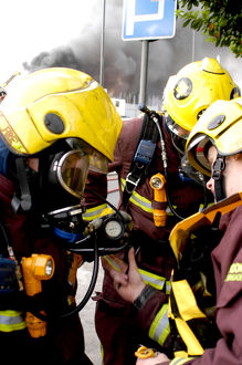 London Fire Brigade firefighters respond to a fire