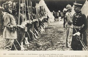 Lord Kitchener reviewing Indian Troops - WWI