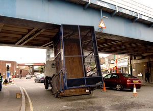 Lorry under bridge, Loughborough Lane, SW9