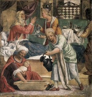 LUINI, Bernardino (1480-1532). Nativity of Mary.