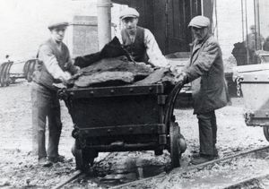 Men with dram, Hook Colliery, Pembrokeshire, South Wales
