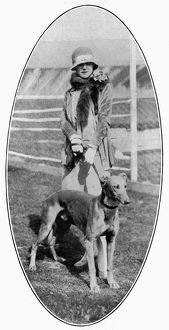 Miss Isabel Jeans with her greyhound
