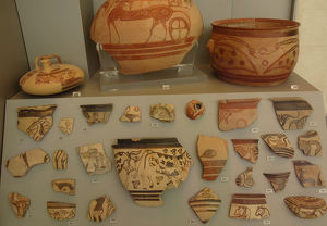 Mycenaean art. Greece. Fragments of pottery. Painting style