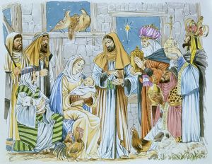 Nativity scene, with the Three Kings bearing gifts