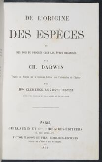 The Origin of Species title page - French edition
