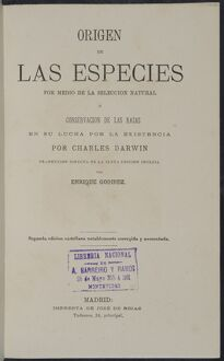 The Origin of Species title page - Spanish version