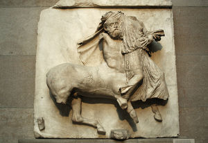 Parthenon. Metope XXIX. Centaur holding a fighter defeated