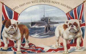 Patriotic Postcard - Royal Navy and British Bulldogs
