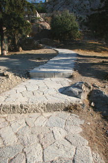 Paved road to climb Acropolis. Athens. Greece