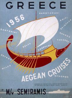 Poster advertising Aegean cruises