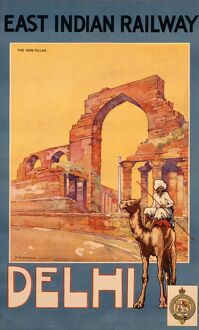 Poster advertising East Indian Railway to Delhi