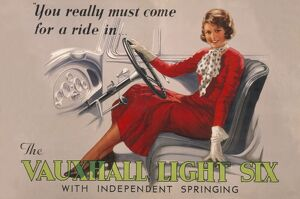 Poster advertising the Vauxhall Light Six car