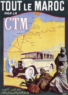 Poster for French railways to Morocco