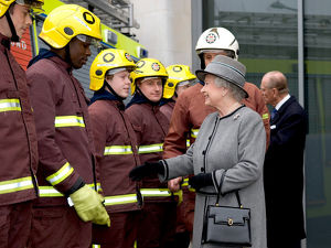 Queen Elizabeth II meeting firefighters on parade, LFB HQ