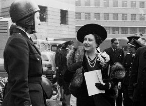 Queen Elizabeth reviews female LFB dispatch rider, WW2