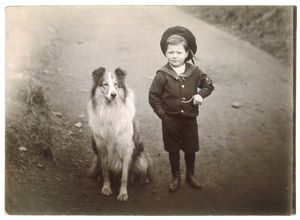 ROUGH COLLIE AND BOY