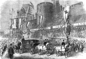 Royal wedding 1863 - passing the curfew tower at Windsor