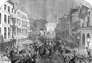 Royal wedding 1863 - procession passing Temple Bar