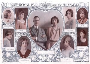 Royal Wedding 1923 - Royal pair and bridesmaids