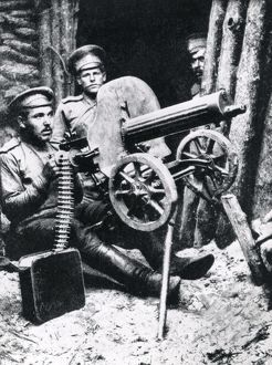 Russian machine gunners on eastern front, WW1