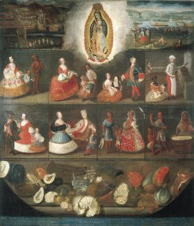 """Scenes of ""Mestizaje"". Circa 1750. Casta paintings """
