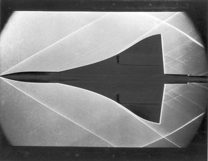 Schlieren photograph of a Concorde model in a wind tunnel