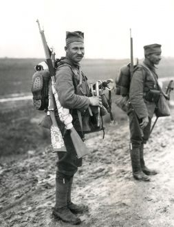 Two Serbian soldiers near Mikra, near Salonika, WW1