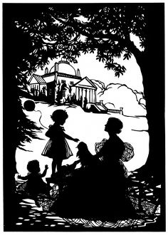 Silhouette of Lady Dufferin and family