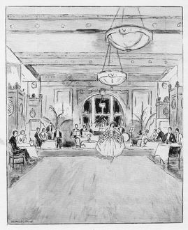 Sketch of the interior of Verrey's restaurant, 1926