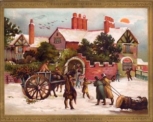 Snow scene outside a house on a New Year card