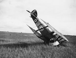 Sopwith Camel biplane in forced landing, France, WW1
