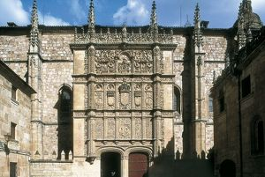 SPAIN. Salamanca. University of Salamanca. Facade.