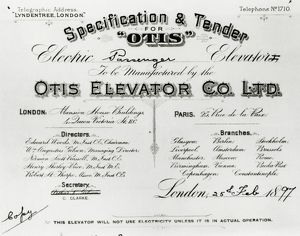 Specification & tender for ?Otis? electric passenger elevato