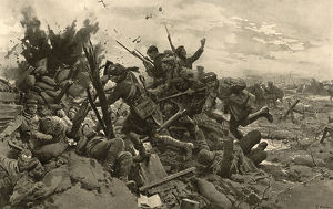 The storming of the trenches round Loos by Fortunino Matania