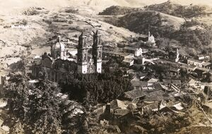 Taxco, Mexico - Aerial view of Church of Santa Prisca