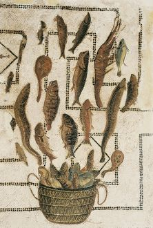 Tile mosaic depicting some fish. Roman art. Early