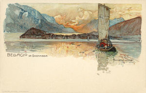 new images grenville collins collection/traditional lake boat crossing cadenabbia bellagio
