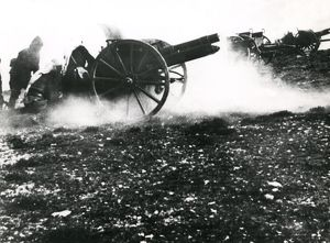 Turkish artillery in action, WW1