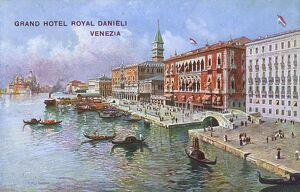 Venice, Italy - Grand Hotel Royal Danieli and Gondolas
