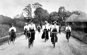 Victorian Women Cyclists Descending a Hill, c.1898.