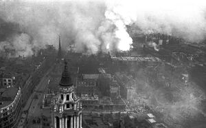 View of City fires from St Paul's Cathedral, WW2