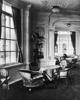 View of the luxurious reading room onboard the Titanic.