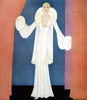 White crepe evening frock, by Gordon Conway