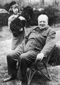 Winston Churchill posing in the garden of the White House