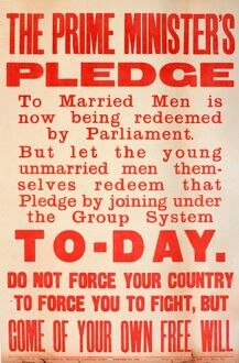 WWI Poster, The Prime Minister's Pledge