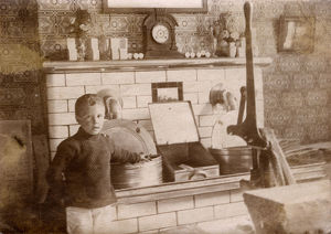 new images grenville collins collection/young boy hot fat fryers fish chip shop