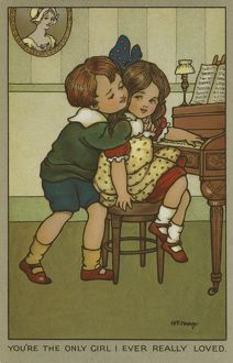 Young boy hugs a girl at the piano by Florence Hardy